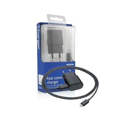 TRAVEL CASA USB + CAVO USB ATTACCO MICRO USB ORIGINALE NOKIA AC-50E per LUMIA 920, COLORE NERO BLISTER SEGUE COMPATIBILITA'..