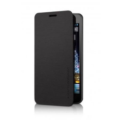 CUSTODIA ORIGINALE FLIP COVER ALCATEL F-GCGB32T0A11C1-A1 per ONE TOUCH 6033 IDOL ULTRA COLORE NERO BLISTER