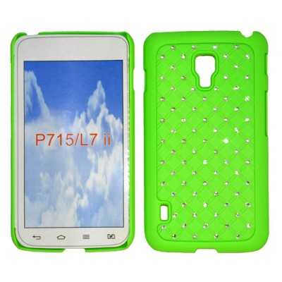 CUSTODIA RIGIDA CON BRILLANTINI per LG OPTIMUS L7 II DUAL, P715 COLORE VERDE