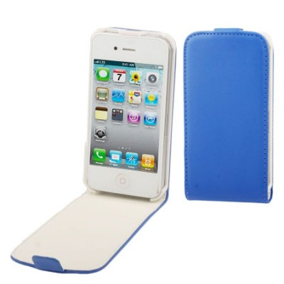 CUSTODIA FLIP VERTICALE SLIM PELLE per APPLE IPHONE 4, 4s COLORE BLU