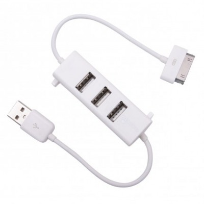 CAVO USB per APPLE IPHONE, IPAD, IPOD CON HUB 3 PORTE USB 2.0 COLORE BIANCO