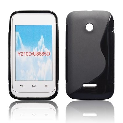 CUSTODIA GEL TPU SILICONE DOUBLE per HUAWEI ASCEND Y210 COLORE NERO