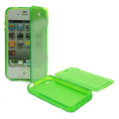 CUSTODIA GEL TPU SILICONE FLIP BOOK per APPLE IPHONE 4, 4S COLORE VERDE TRASPARENTE