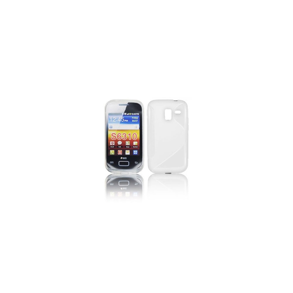 CUSTODIA GEL TPU SILICONE DOUBLE per SAMSUNG S6310 GALAXY YOUNG, S6312 GALAXY YOUNG DUOS COLORE BIANCO