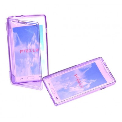 CUSTODIA GEL TPU SILICONE FLIP BOOK per LG OPTIMUS L9, P760 COLORE VIOLA