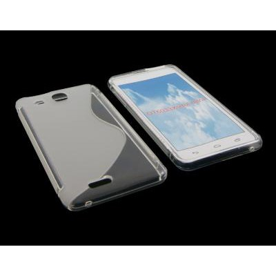 CUSTODIA GEL TPU SILICONE DOUBLE per ALCATEL ONE TOUCH 6033 IDOL ULTRA COLORE BIANCO-TRASPARENTE
