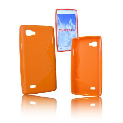 CUSTODIA GEL TPU SILICONE DOUBLE per LG P880 OPTIMUS 4X HD COLORE ARANCIONE