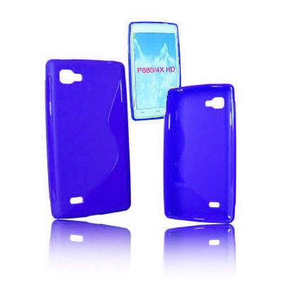 CUSTODIA GEL TPU SILICONE DOUBLE per LG P880 OPTIMUS 4X HD COLORE BLU