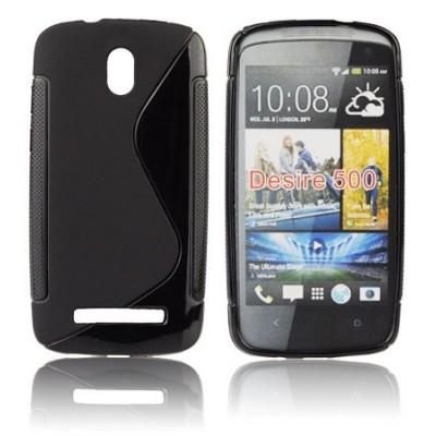 CUSTODIA GEL TPU SILICONE DOUBLE per HTC DESIRE 500 COLORE NERO