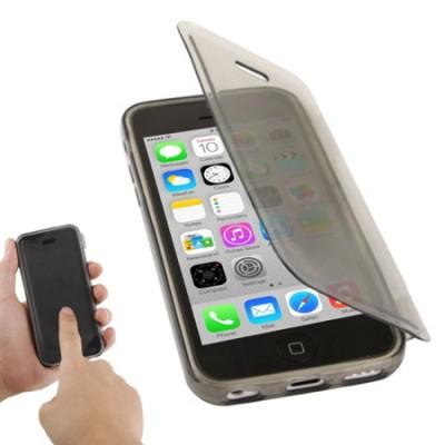 CUSTODIA GEL TPU SILICONE FLIP BOOK TOUCH SCREEN per APPLE IPHONE 5c COLORE NERO TRASPARENTE