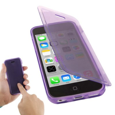 CUSTODIA GEL TPU SILICONE FLIP BOOK TOUCH SCREEN per APPLE IPHONE 5c COLORE VIOLA