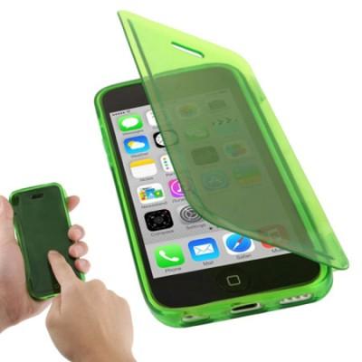 CUSTODIA GEL TPU SILICONE FLIP BOOK TOUCH SCREEN per APPLE IPHONE 5c COLORE VERDE