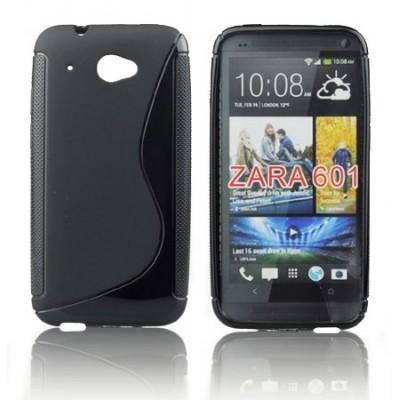 CUSTODIA GEL TPU SILICONE DOUBLE per HTC DESIRE 601, ZARA COLORE NERO