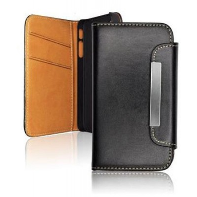 CUSTODIA FLIP ORIZZONTALE WALLET per APPLE IPHONE 5c CON PORTA CARTE COLORE NERO