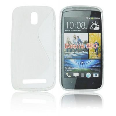 CUSTODIA GEL TPU SILICONE DOUBLE per HTC DESIRE 500 COLORE BIANCO-TRASPARENTE