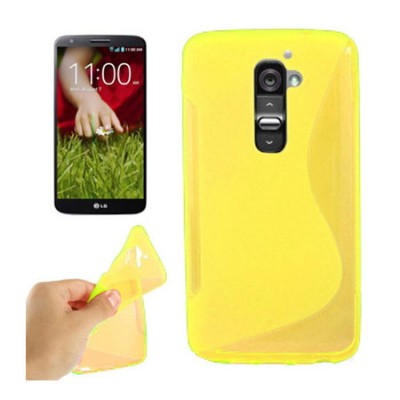 CUSTODIA GEL TPU SILICONE DOUBLE per LG OPTIMUS G2, D802, D802TA, D803 COLORE GIALLO