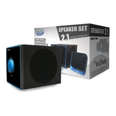 CASSE ACUSTICHE SPEAKER SET SYSTEM 2.1 PER PC E TV CON SUBWOOFER IN LEGNO E POTENZA TOTALE 22W COLORE NERO SP-2008 VULTECH