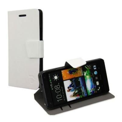 CUSTODIA FLIP ORIZZONTALE PELLE per HTC ONE, M7 CON STAND E PORTA CARTE COLORE BIANCO