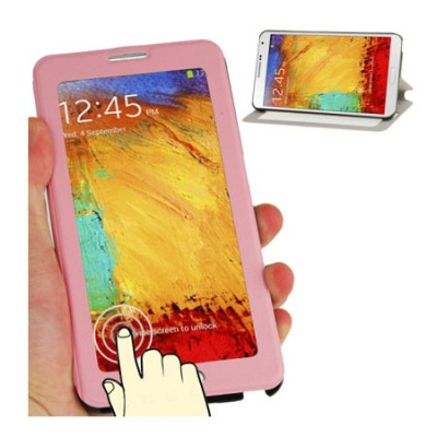 CUSTODIA FLIP ORIZZONTALE TOUCH SCREEN per SAMSUNG GALAXY NOTE 3, N9000 CON FINESTRA GRANDE E STAND COLORE ROSA