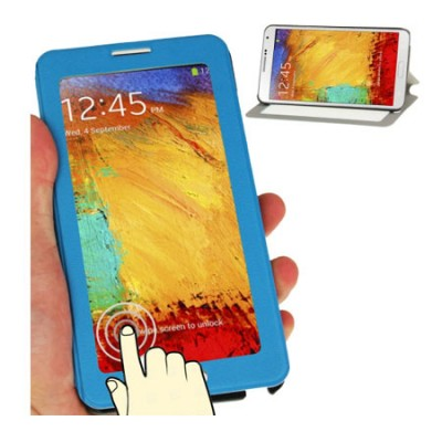 CUSTODIA FLIP ORIZZONTALE TOUCH SCREEN per SAMSUNG GALAXY NOTE 3, N9000 CON FINESTRA GRANDE E STAND COLORE BLU