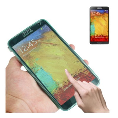 CUSTODIA GEL TPU SILICONE FLIP BOOK TOUCH SCREEN per SAMSUNG GALAXY NOTE 3, N9000, N9002, N9005 COLORE VERDE ACQUA