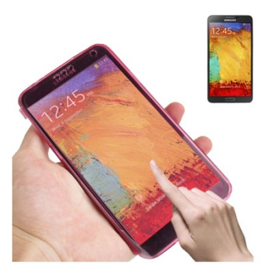 CUSTODIA GEL TPU SILICONE FLIP BOOK TOUCH SCREEN per SAMSUNG GALAXY NOTE 3, N9000, N9002, N9005 COLORE FUCSIA