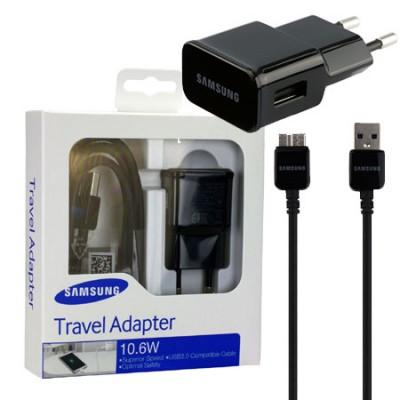 TRAVEL CASA USB 3.0 + CAVO USB 3.0 ORIGINALE per SAMSUNG N9000 GALAXY NOTE 3, G900F NERO 1,5 Mt. EP-TA10EBEQGWW BLISTER
