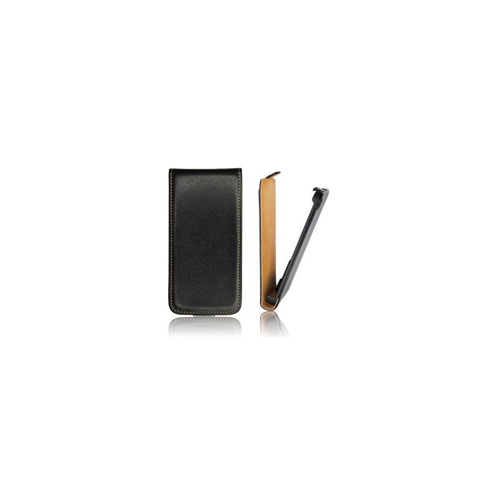 CUSTODIA FLIP VERTICALE SLIM PELLE per HTC DESIRE 700 COLORE NERO