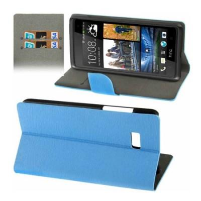 CUSTODIA FLIP ORIZZONTALE PELLE per HTC DESIRE 600 CON STAND E PORTA CARTE COLORE BLU EFFETTO LEGNO