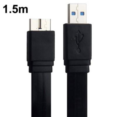 CAVO USB 3.0 PIATTO per SAMSUNG N9000 GALAXY NOTE 3, G900F GALAXY S5 ANTI-GROVIGLIO LUNGHEZZA 1,5 MT. COLORE NERO
