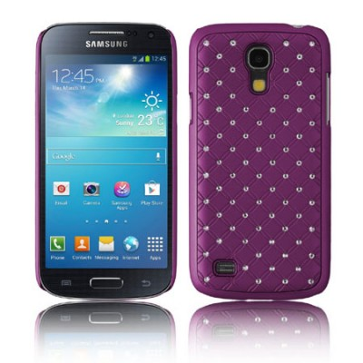 CUSTODIA BACK RIGIDA CON BRILLANTINI per SAMSUNG I9190 GALAXY S4 MINI, I9192, I9195 COLORE VIOLA