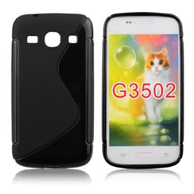 CUSTODIA GEL TPU SILICONE DOUBLE per SAMSUNG G3500 GALAXY CORE PLUS, G3502 GALAXY TREND 3 COLORE NERO