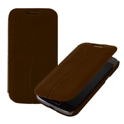 CUSTODIA FLIP BOOK PELLE per SAMSUNG I9190 GALAXY S4 MINI FANTASIA GROOVE COLORE MARRONE