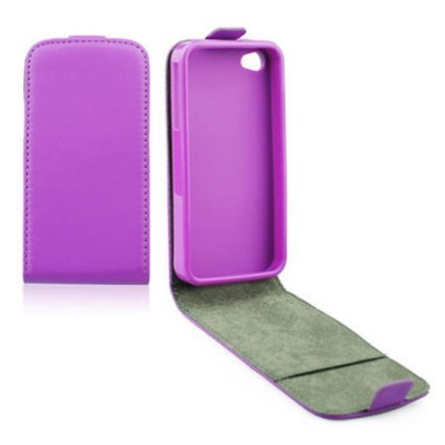 CUSTODIA FLIP VERTICALE SLIM PELLE per APPLE IPHONE 5c CON INTERNO IN TPU SILICONE COLORE VIOLA