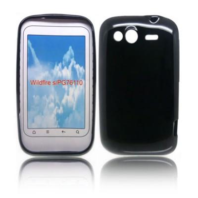 CUSTODIA GEL TPU SILICONE LUCIDA per HTC WILDFIRE S, PG76110 COLORE NERO