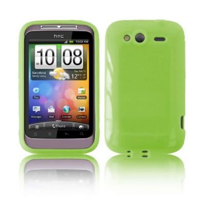 CUSTODIA GEL TPU SILICONE LUCIDA per HTC WILDFIRE S, PG76110 COLORE VERDE