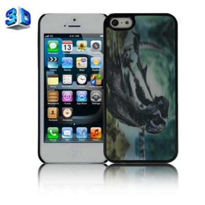 CUSTODIA BACK RIGIDA IN 3D per APPLE IPHONE 5, 5s FANTASIA SCHELETRO CON TEMPESTA