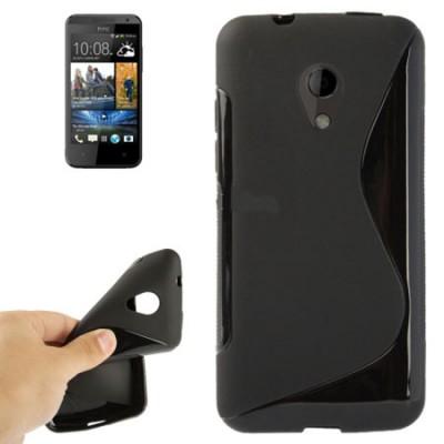 CUSTODIA GEL TPU SILICONE DOUBLE per HTC DESIRE 700 COLORE NERO