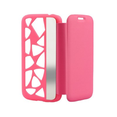 CUSTODIA FLIP ORIZZONTALE per APPLE IPHONE 5c CON PARTE POSTERIORE FORATA E SPECCHIETTO LATERALE COLORE ROSA