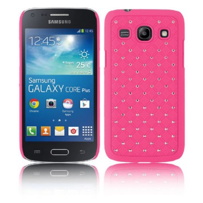 CUSTODIA BACK RIGIDA CON BRILLANTINI per SAMSUNG G3500 GALAXY CORE PLUS, G3502 GALAXY TREND 3 COLORE ROSA