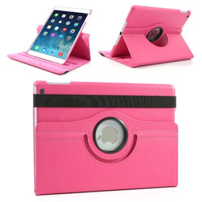 CUSTODIA BOOK ORIZZONTALE PELLE GIREVOLE per APPLE IPAD AIR, IPAD 5 CON STAND COLORE FUCSIA