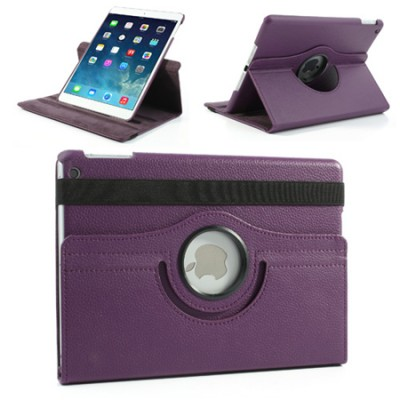 CUSTODIA BOOK ORIZZONTALE PELLE GIREVOLE per APPLE IPAD AIR, IPAD 5 CON STAND COLORE VIOLA