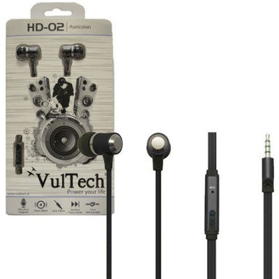 AURICOLARE STEREO SUPER-BASS IN METALLO JACK 3,5 mm per IPOD, MP3, MP4, SMARTPHONE E TABLET NERO HD-02N VULTECH BLISTER
