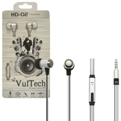 AURICOLARE STEREO SUPER-BASS IN METALLO JACK 3,5 mm per IPOD, MP3, MP4, SMARTPHONE E TABLET SILVER HD-02W VULTECH BLISTER