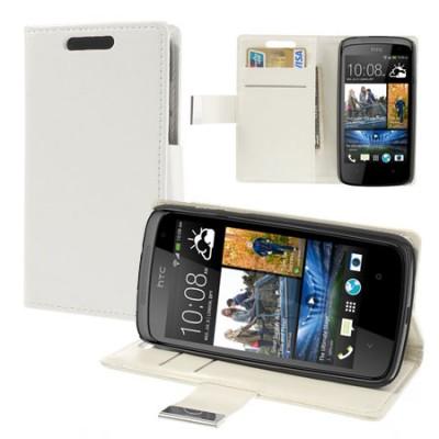 CUSTODIA FLIP ORIZZONTALE BOOK per HTC DESIRE 500 CON STAND E TASCHE PORTA CARTE COLORE BIANCO
