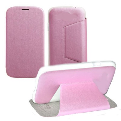 CUSTODIA FLIP ORIZZONTALE PELLE per HTC ONE 2 ( M8 ), ONE M8s CON STAND COLORE ROSA BLISTER SWIFT