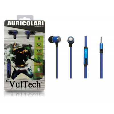 AURICOLARE STEREO SUPER-BASS IN METALLO JACK 3,5 mm per IPOD, MP3, MP4, SMARTPHONE E TABLET BLU HD-02B VULTECH BLISTER