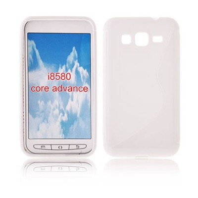 CUSTODIA GEL TPU SILICONE DOUBLE per SAMSUNG I8580 GALAXY CORE ADVANCE COLORE BIANCO