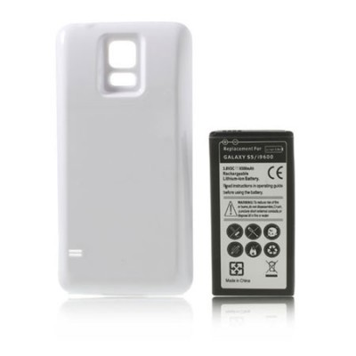 BATTERIA 6500 mAh + COVER COLORE BIANCO per SAMSUNG G900 GALAXY S5, I9600