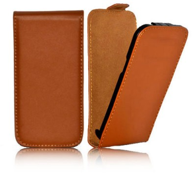 CUSTODIA FLIP SLIM VERTICALE PELLE per SAMSUNG G3500 GALAXY CORE PLUS, G3502 GALAXY TREND 3 COLORE MARRONE